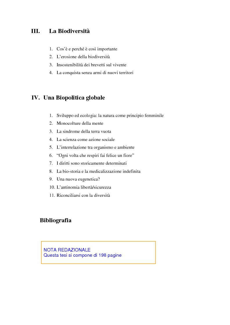 Indice della tesi: L'agricoltura geneticamente modificata dall'erosione della biodiversità ai problemi di una biopolitica globale, Pagina 2