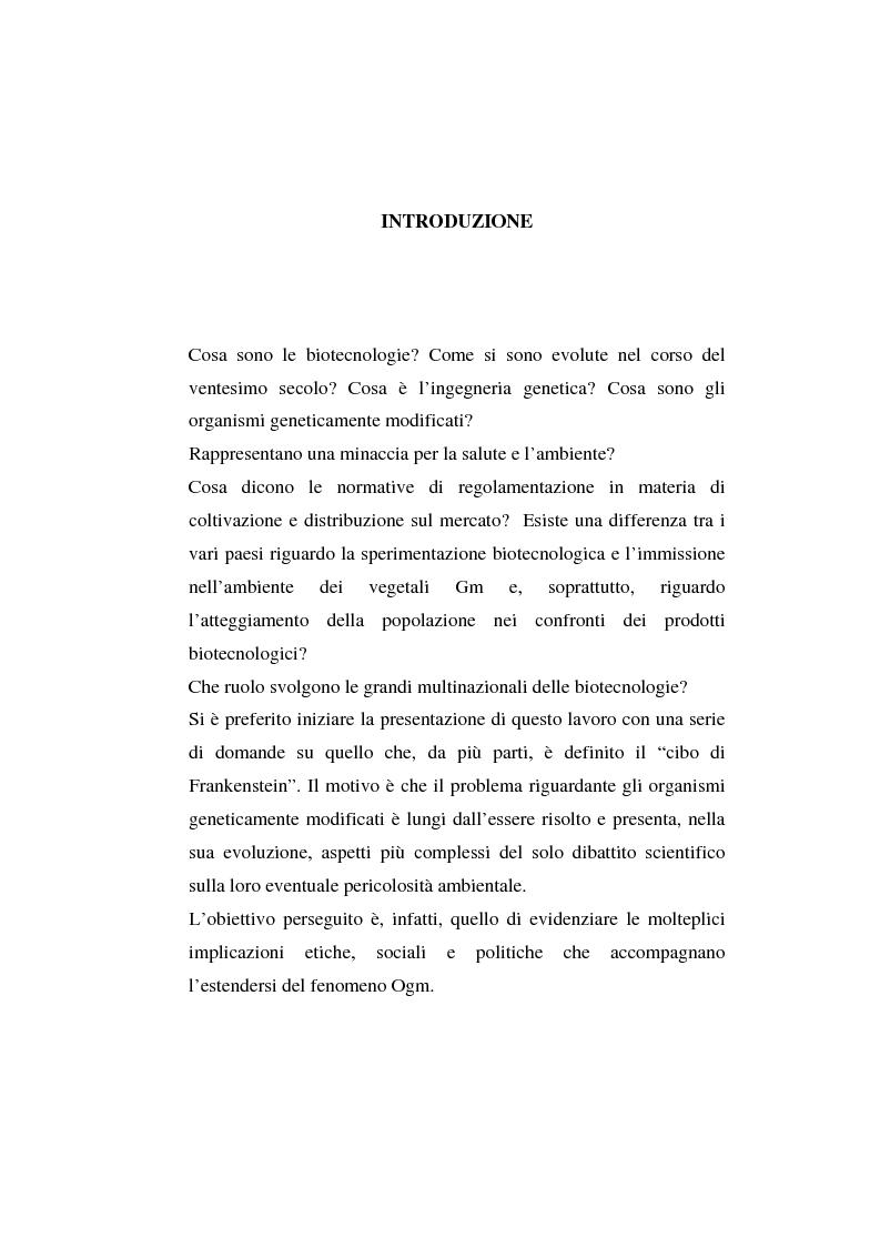 Anteprima della tesi: L'agricoltura geneticamente modificata dall'erosione della biodiversità ai problemi di una biopolitica globale, Pagina 1