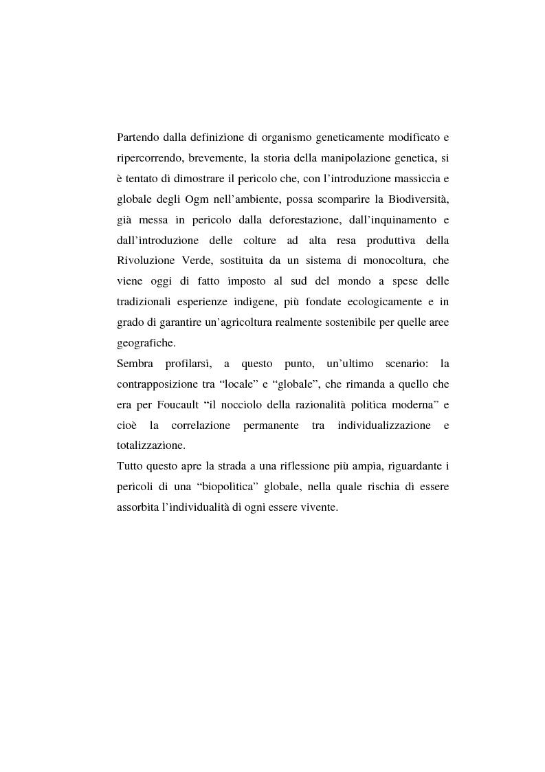 Anteprima della tesi: L'agricoltura geneticamente modificata dall'erosione della biodiversità ai problemi di una biopolitica globale, Pagina 2