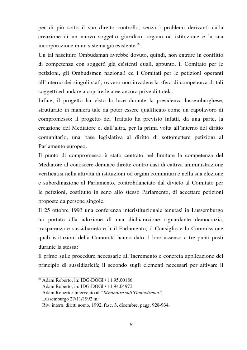 Anteprima della tesi: Il Mediatore europeo, Pagina 9