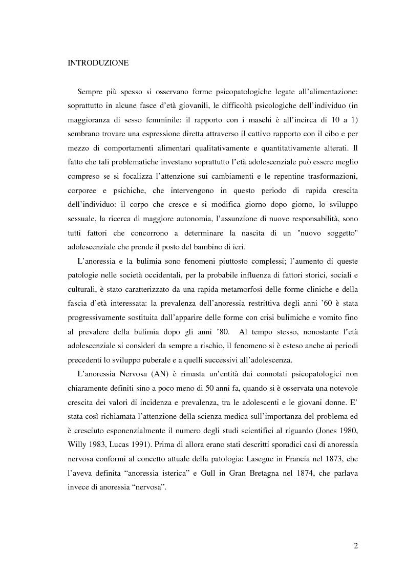 Anteprima della tesi: Valutazione di personalità e temperamento nei disturbi del comportamento alimentare, Pagina 1