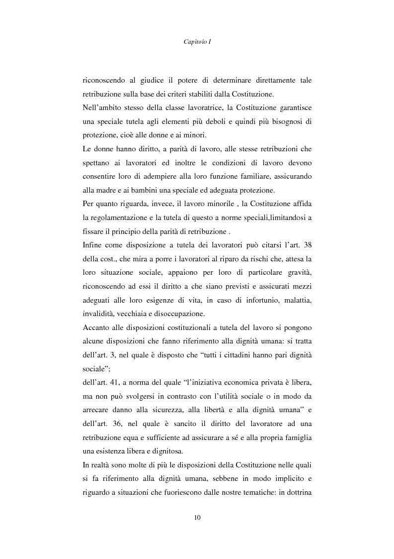 Anteprima della tesi: Rapporto di lavoro e lesione della dignità umana, Pagina 10