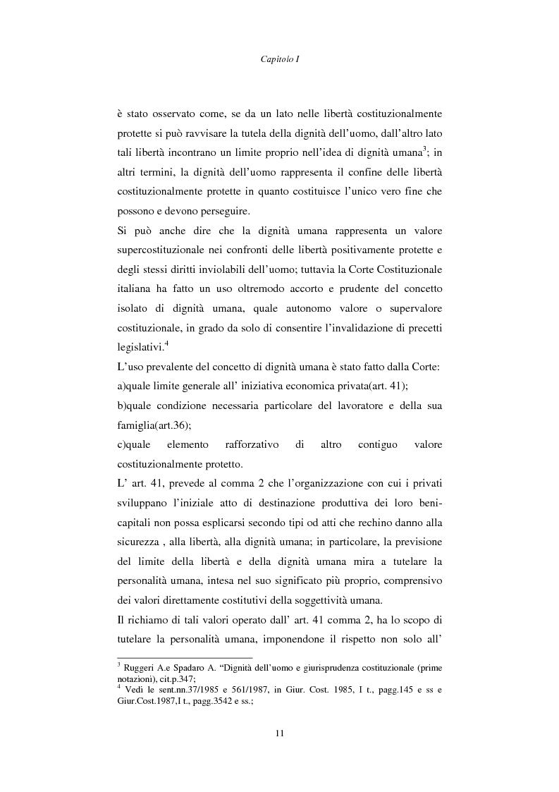Anteprima della tesi: Rapporto di lavoro e lesione della dignità umana, Pagina 11