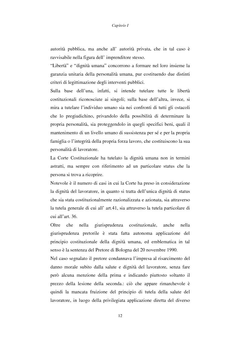 Anteprima della tesi: Rapporto di lavoro e lesione della dignità umana, Pagina 12