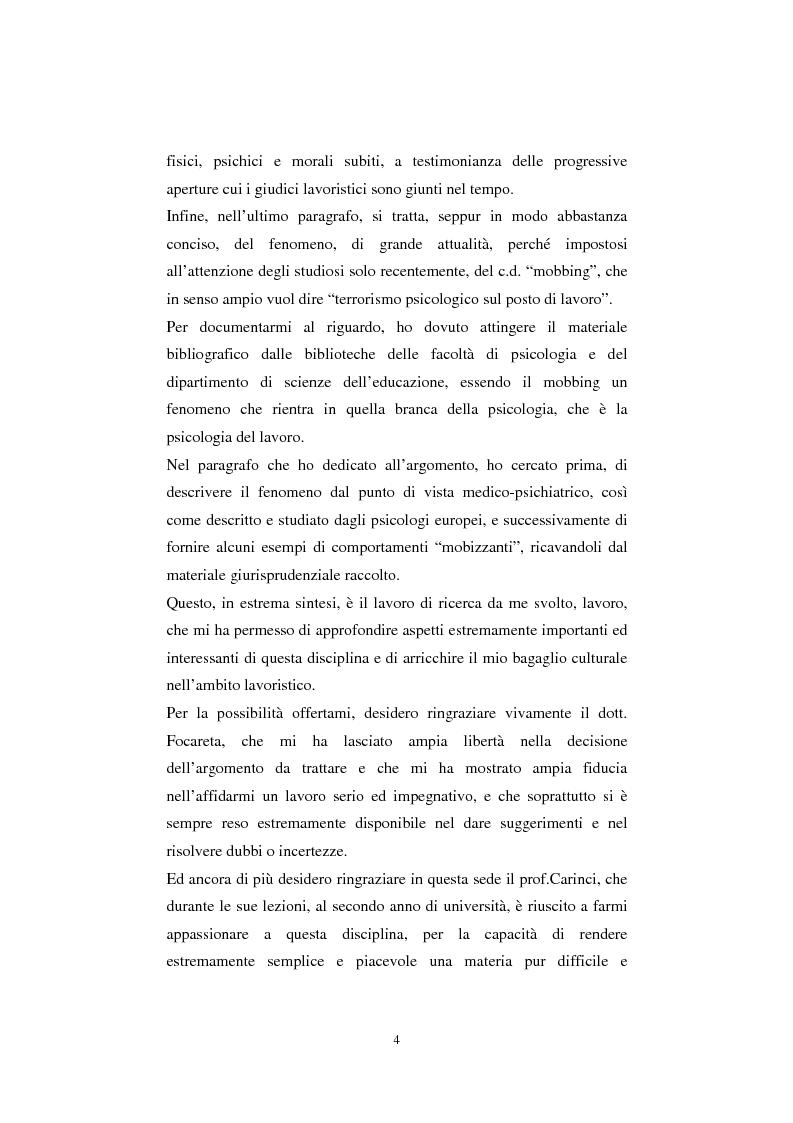 Anteprima della tesi: Rapporto di lavoro e lesione della dignità umana, Pagina 4