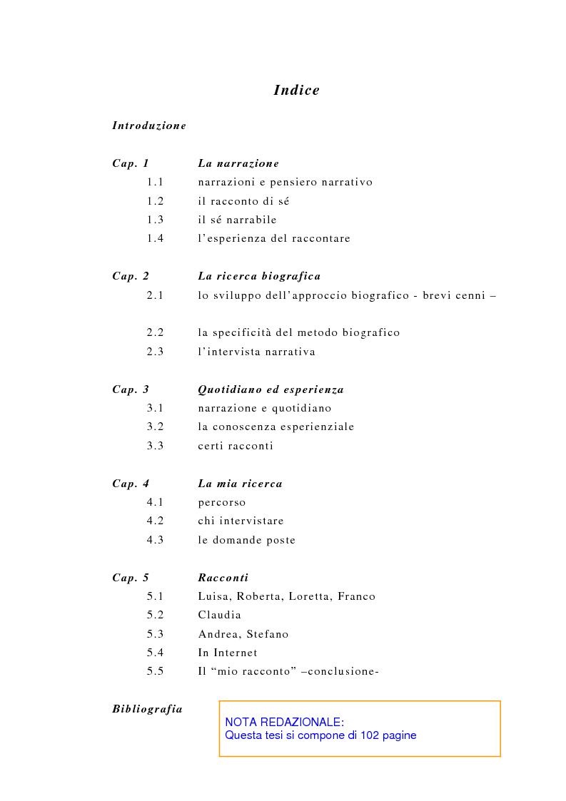 Indice della tesi: Incredibile ma.... narrazione con materiale biografico di storie ''particolari'' di vita quotidiana, Pagina 1