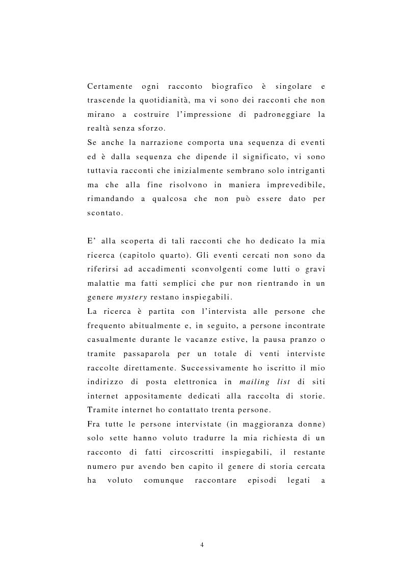 Anteprima della tesi: Incredibile ma.... narrazione con materiale biografico di storie ''particolari'' di vita quotidiana, Pagina 4