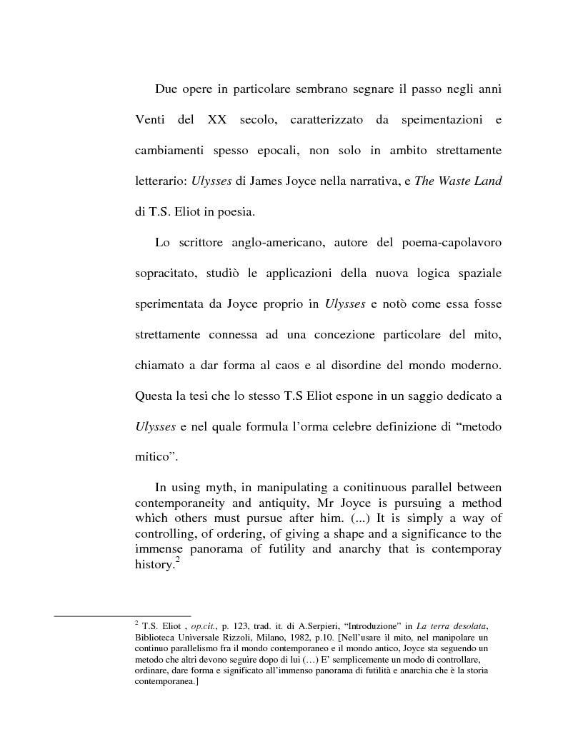 Anteprima della tesi: Percorsi ipertestuali in ''The Waste Land'': la ''forma spaziale'' nella poesia, Pagina 2