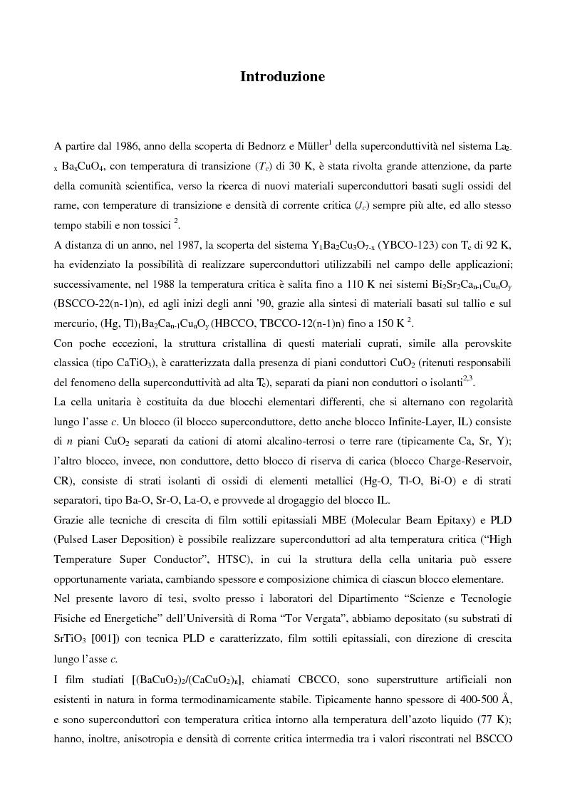 Anteprima della tesi: Misure di trasporto in superreticoli superconduttori BaCuO2/CaCuO2 cresciuti mediante fotodeposizione laser, Pagina 1