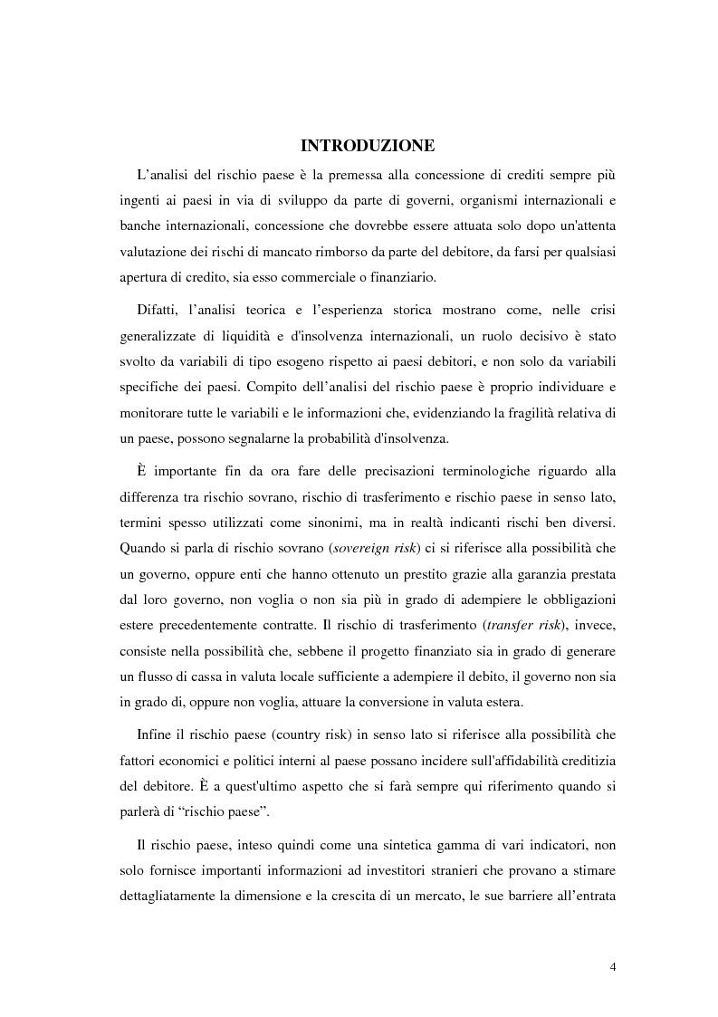 Anteprima della tesi: L'analisi del rischio paese. Una applicazione delle reti neurali., Pagina 1