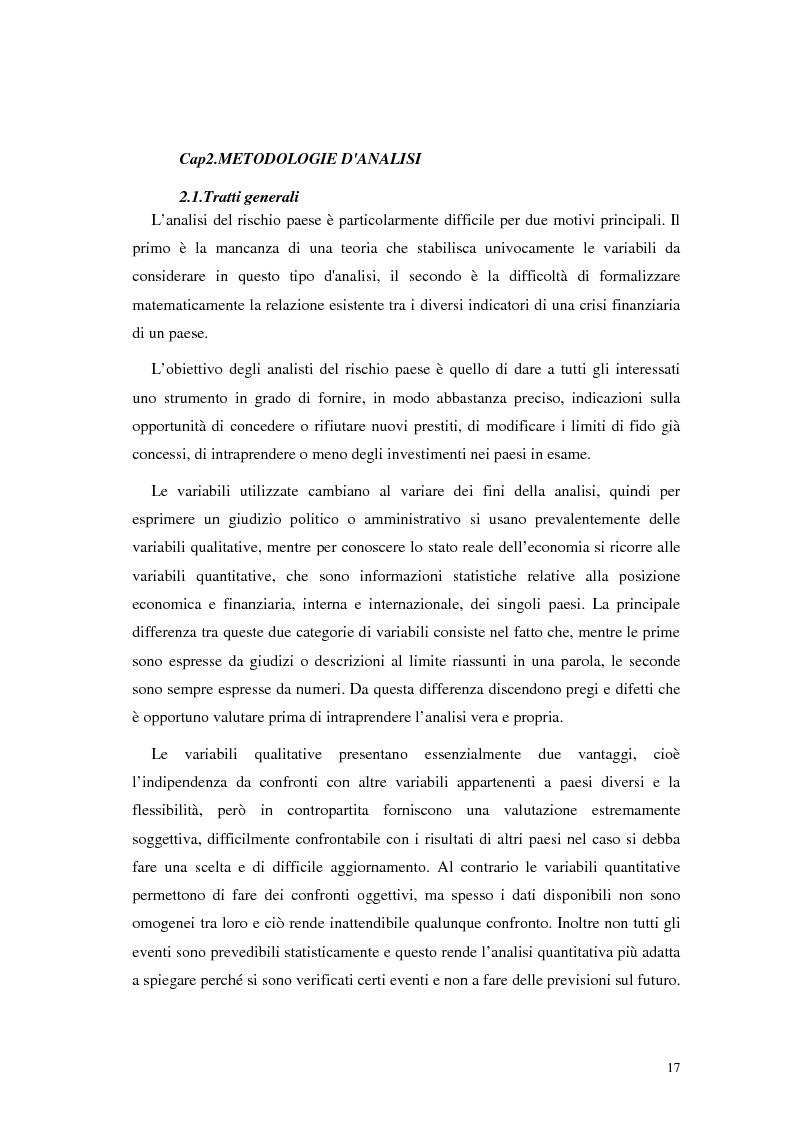 Anteprima della tesi: L'analisi del rischio paese. Una applicazione delle reti neurali., Pagina 14
