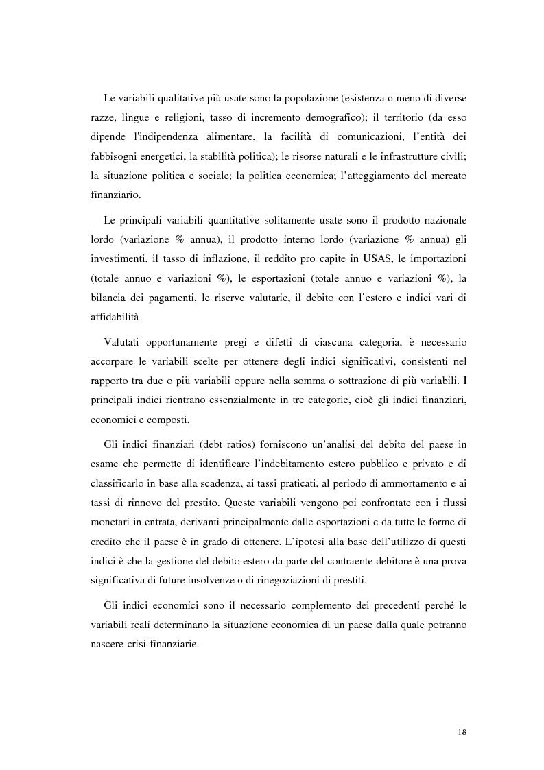 Anteprima della tesi: L'analisi del rischio paese. Una applicazione delle reti neurali., Pagina 15