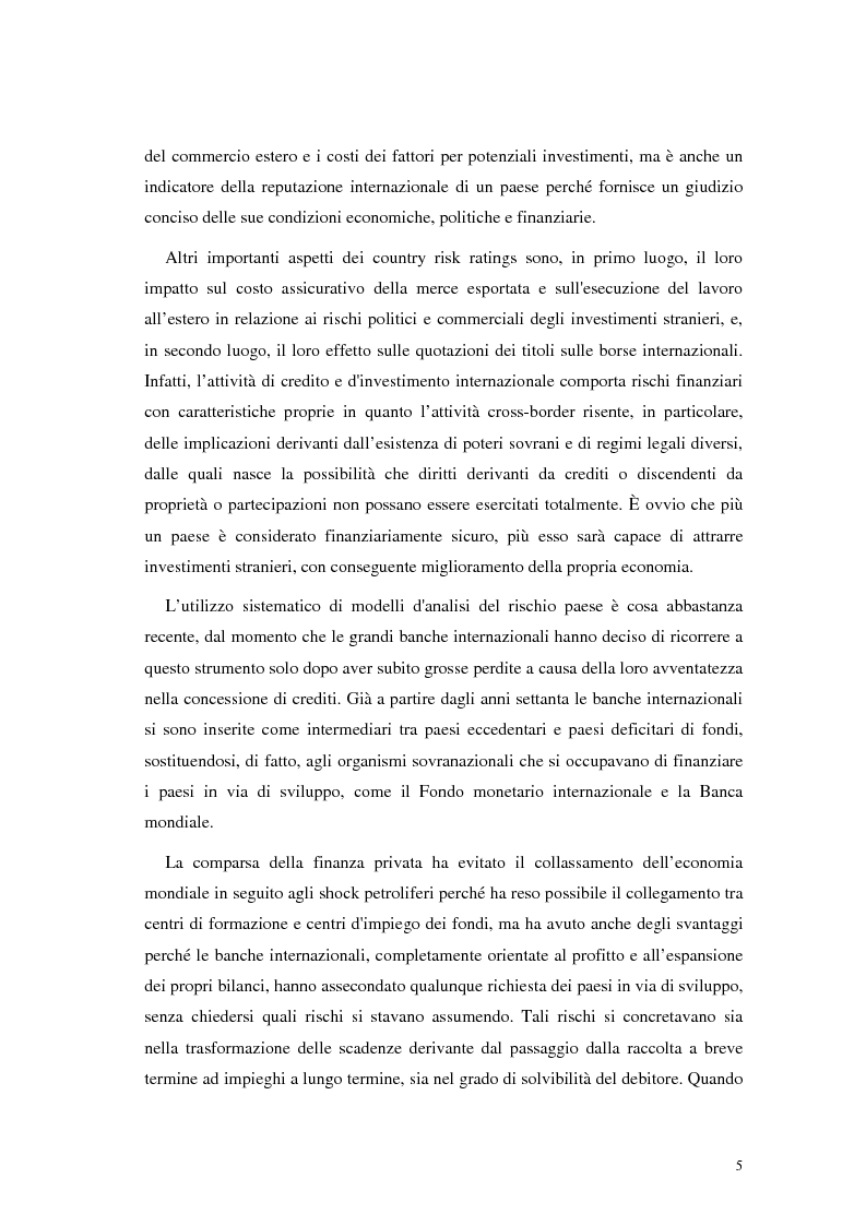 Anteprima della tesi: L'analisi del rischio paese. Una applicazione delle reti neurali., Pagina 2