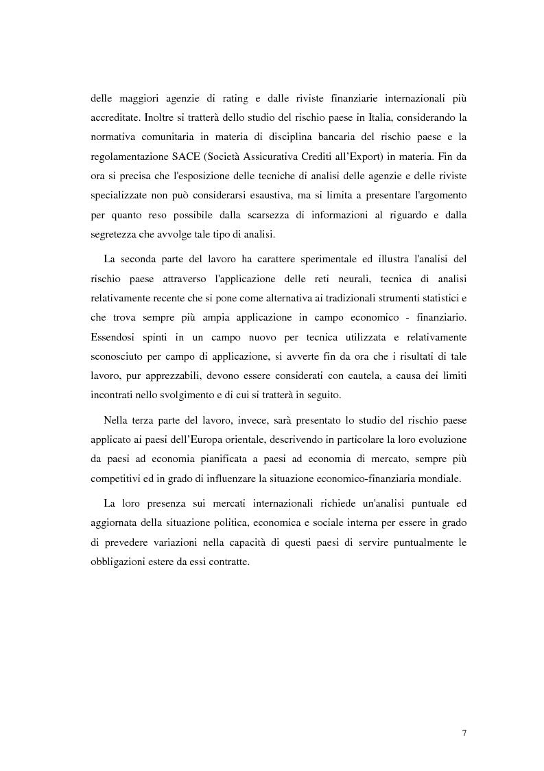 Anteprima della tesi: L'analisi del rischio paese. Una applicazione delle reti neurali., Pagina 4