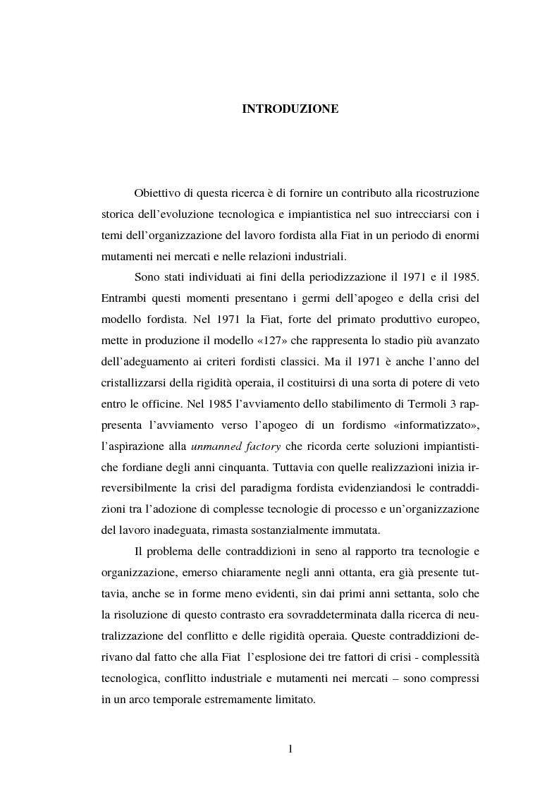 Anteprima della tesi: Evoluzione tecnologica e organizzazione del lavoro alla Fiat Auto tra apogeo e crisi del fordismo (1971-1985), Pagina 1