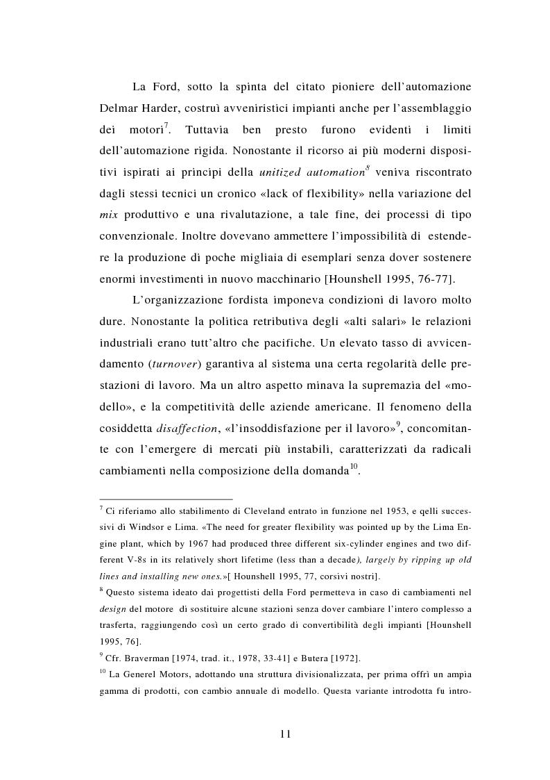 Anteprima della tesi: Evoluzione tecnologica e organizzazione del lavoro alla Fiat Auto tra apogeo e crisi del fordismo (1971-1985), Pagina 11