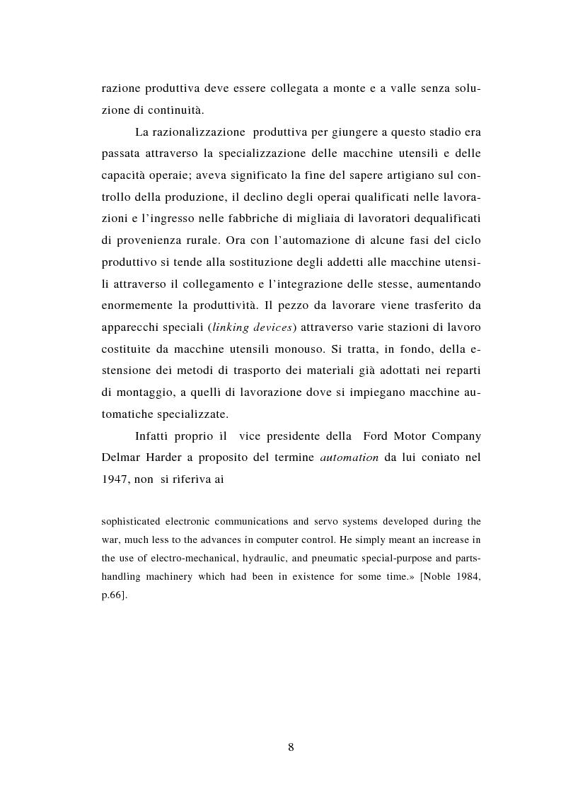 Anteprima della tesi: Evoluzione tecnologica e organizzazione del lavoro alla Fiat Auto tra apogeo e crisi del fordismo (1971-1985), Pagina 8