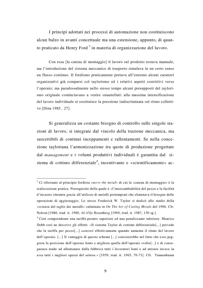 Anteprima della tesi: Evoluzione tecnologica e organizzazione del lavoro alla Fiat Auto tra apogeo e crisi del fordismo (1971-1985), Pagina 9