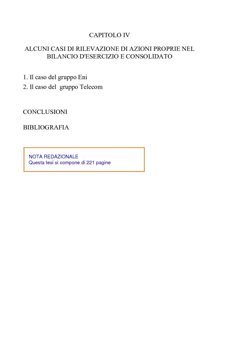 Indice della tesi: Acquisto e possesso di azioni proprie e della controllante: motivazioni e riflessi sul bilancio d'esercizio e consolidato, Pagina 4