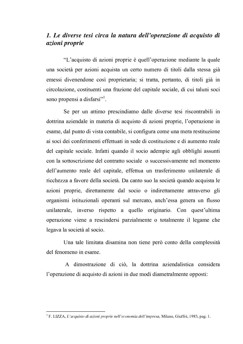 Anteprima della tesi: Acquisto e possesso di azioni proprie e della controllante: motivazioni e riflessi sul bilancio d'esercizio e consolidato, Pagina 1