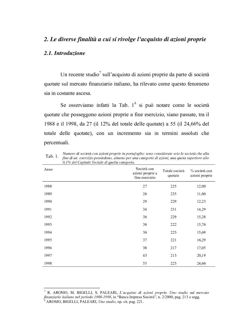 Anteprima della tesi: Acquisto e possesso di azioni proprie e della controllante: motivazioni e riflessi sul bilancio d'esercizio e consolidato, Pagina 9