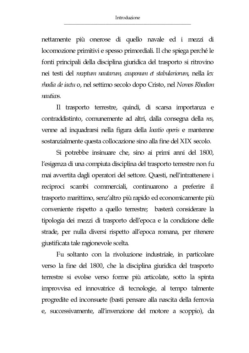 Anteprima della tesi: Gli eventi esonerativi della responsabilità del vettore terrestre di cose, Pagina 2