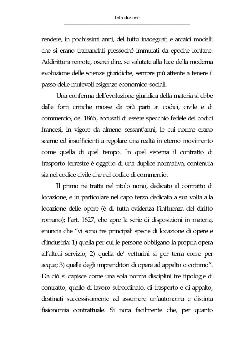 Anteprima della tesi: Gli eventi esonerativi della responsabilità del vettore terrestre di cose, Pagina 3