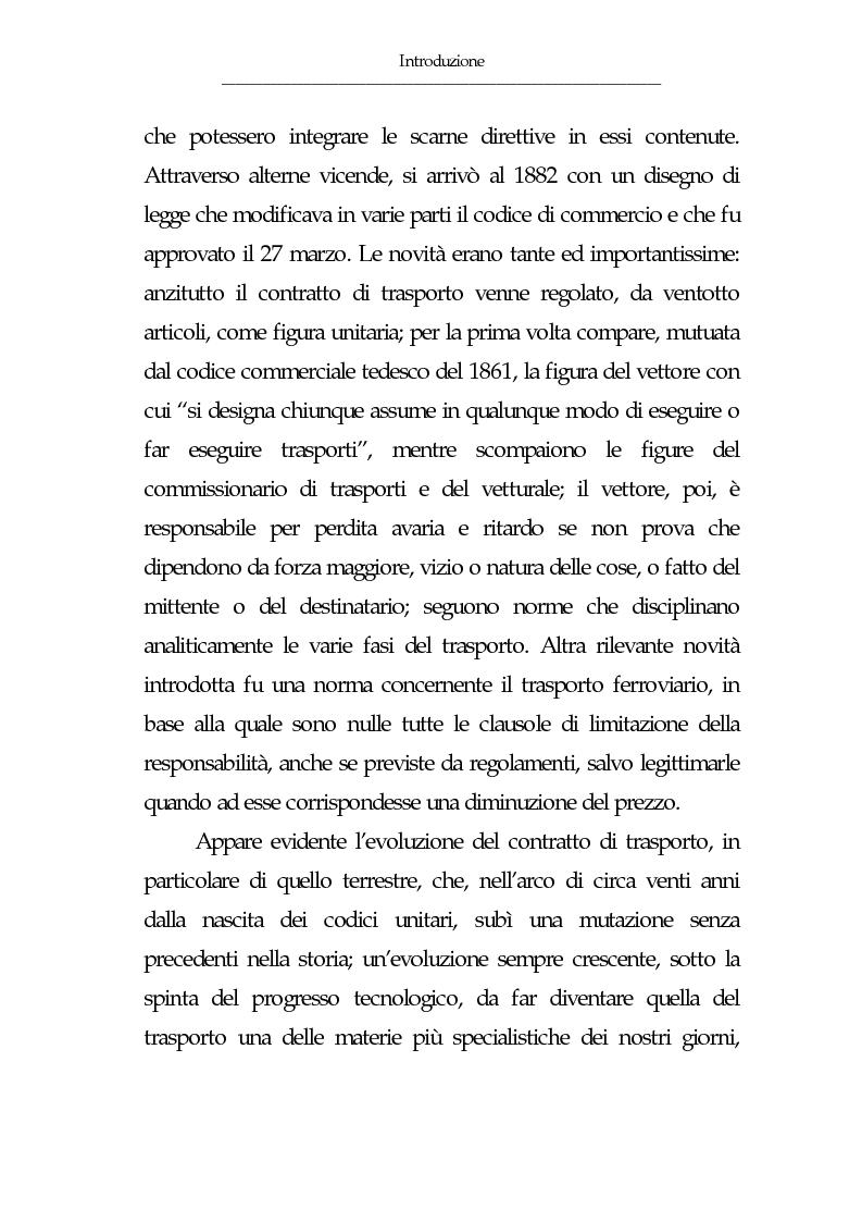 Anteprima della tesi: Gli eventi esonerativi della responsabilità del vettore terrestre di cose, Pagina 5
