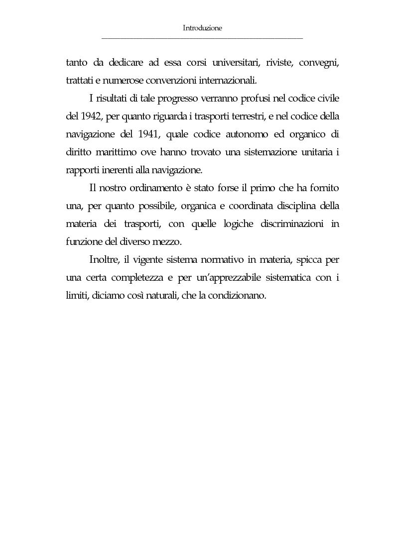 Anteprima della tesi: Gli eventi esonerativi della responsabilità del vettore terrestre di cose, Pagina 6
