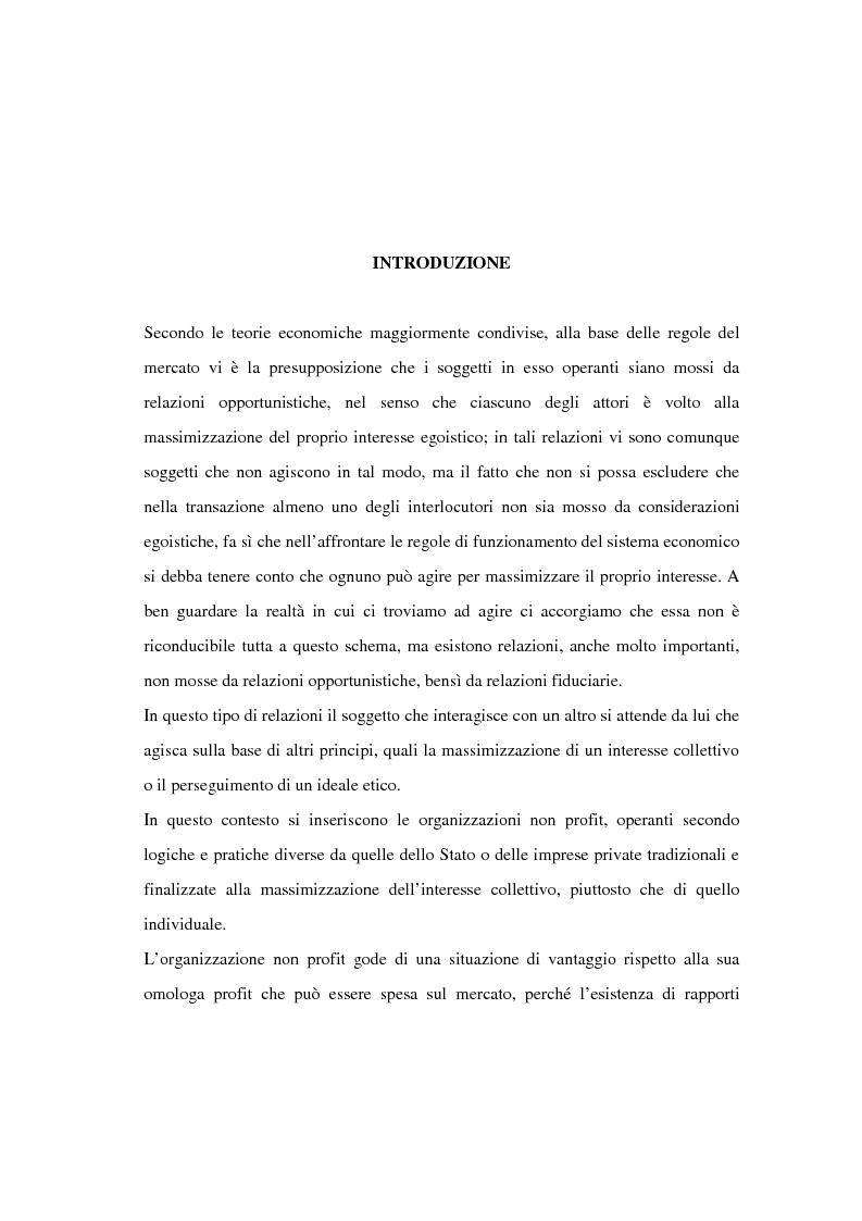 Anteprima della tesi: Il finanziamento del settore non profit: la prospettiva della banca etica, Pagina 1