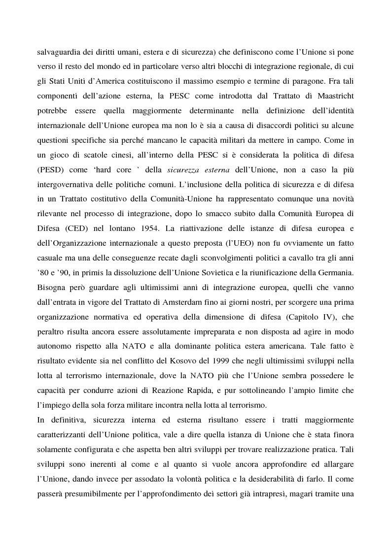 Anteprima della tesi: Sicurezza 'interna ed esterna' nello sviluppo dell'Unione Politica Europea, Pagina 3