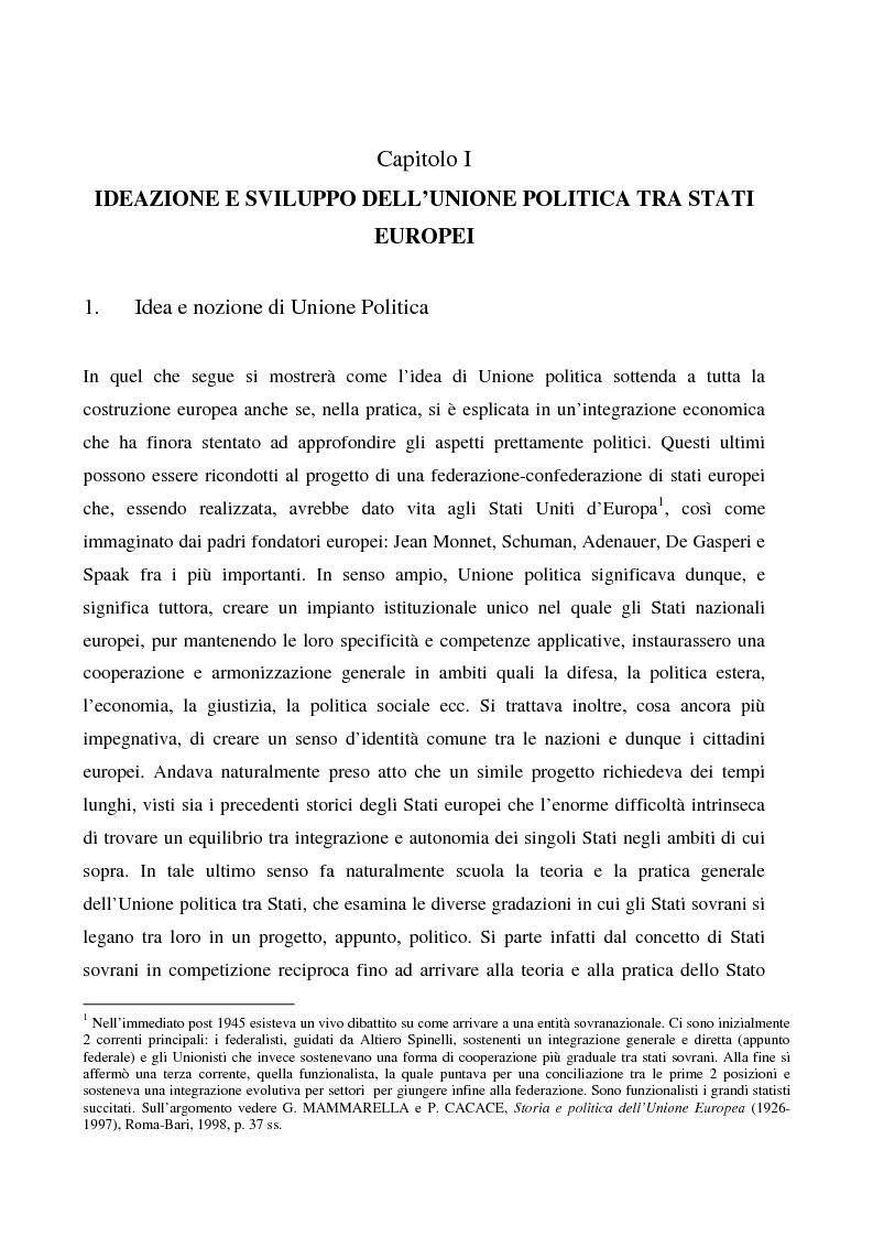 Anteprima della tesi: Sicurezza 'interna ed esterna' nello sviluppo dell'Unione Politica Europea, Pagina 5