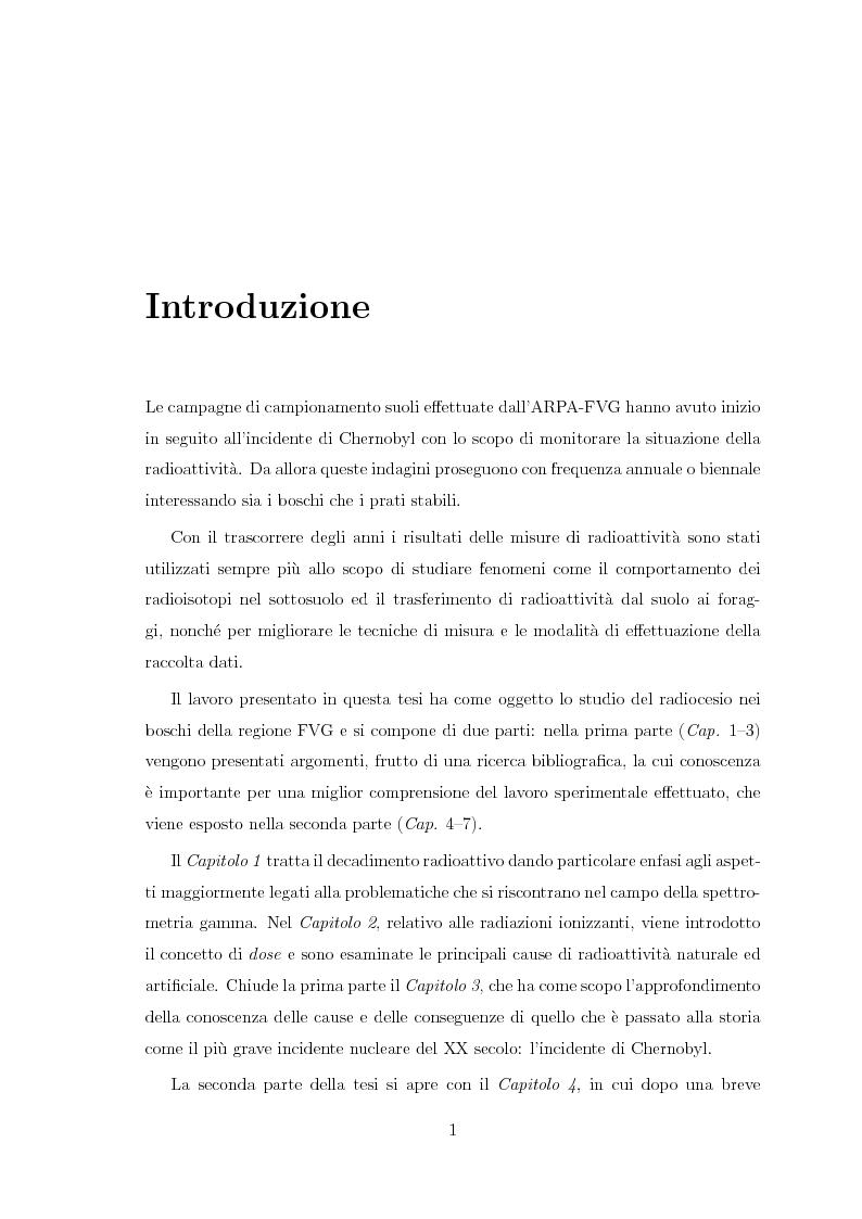 Anteprima della tesi: Il radiocesio nei boschi della regione FVG: la situazione attuale ed il confronto con il passato, Pagina 1