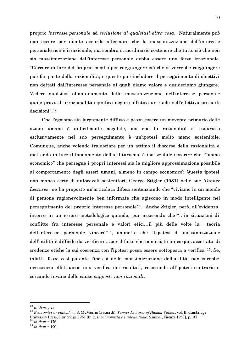 Anteprima della tesi: Economia, etica e finanza - Riflessioni su una conciliazione all'alba del III millennio, Pagina 15