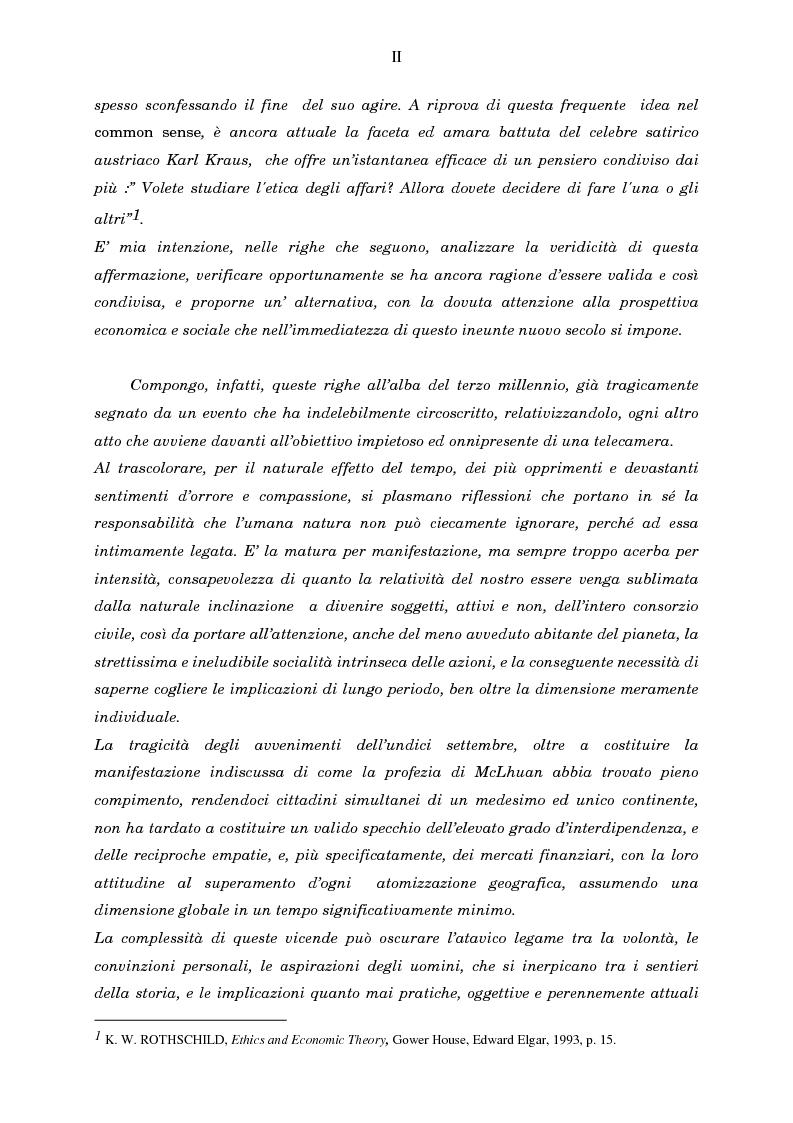 Anteprima della tesi: Economia, etica e finanza - Riflessioni su una conciliazione all'alba del III millennio, Pagina 2