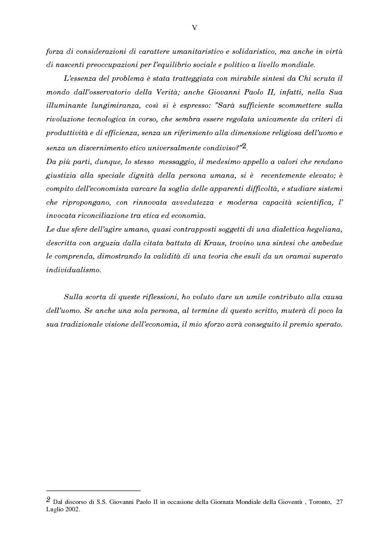 Anteprima della tesi: Economia, etica e finanza - Riflessioni su una conciliazione all'alba del III millennio, Pagina 5