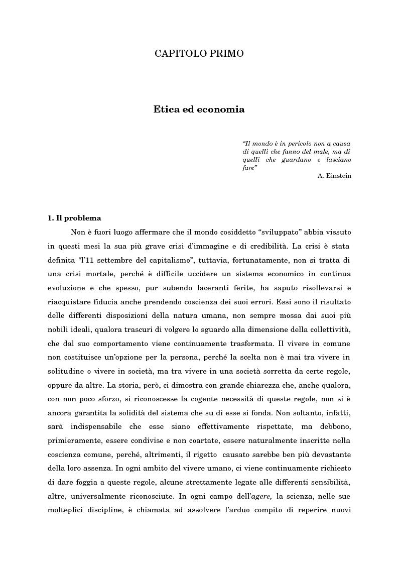 Anteprima della tesi: Economia, etica e finanza - Riflessioni su una conciliazione all'alba del III millennio, Pagina 6