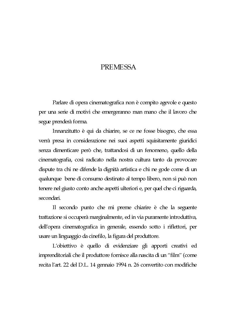 Anteprima della tesi: L'opera cinematografica: in particolare del produttore cinematografico, Pagina 1