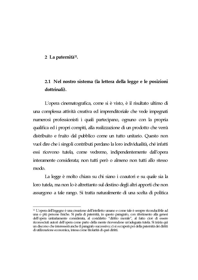 Anteprima della tesi: L'opera cinematografica: in particolare del produttore cinematografico, Pagina 10