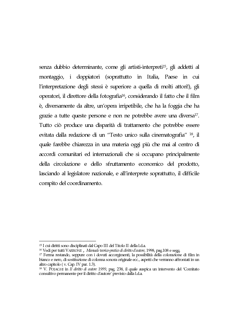 Anteprima della tesi: L'opera cinematografica: in particolare del produttore cinematografico, Pagina 12
