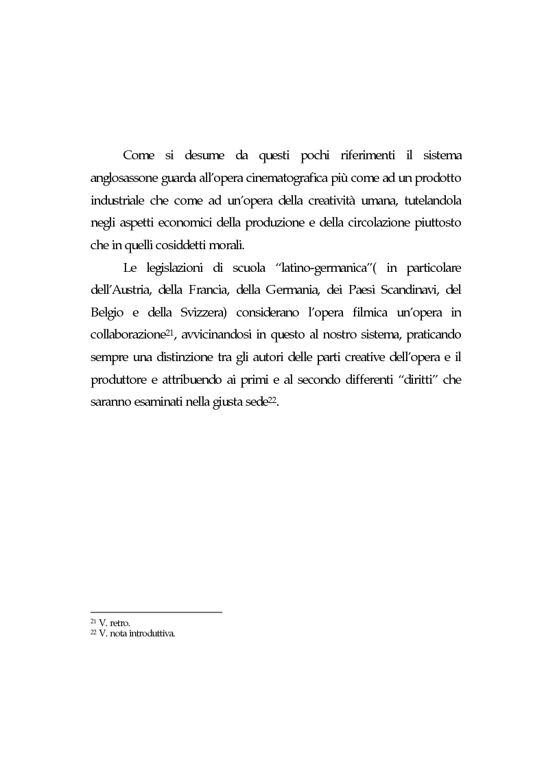 Anteprima della tesi: L'opera cinematografica: in particolare del produttore cinematografico, Pagina 14