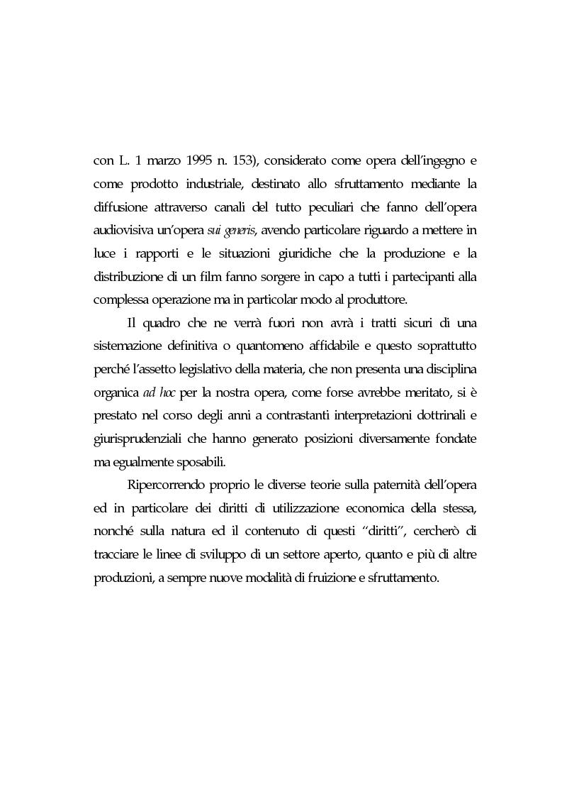 Anteprima della tesi: L'opera cinematografica: in particolare del produttore cinematografico, Pagina 2