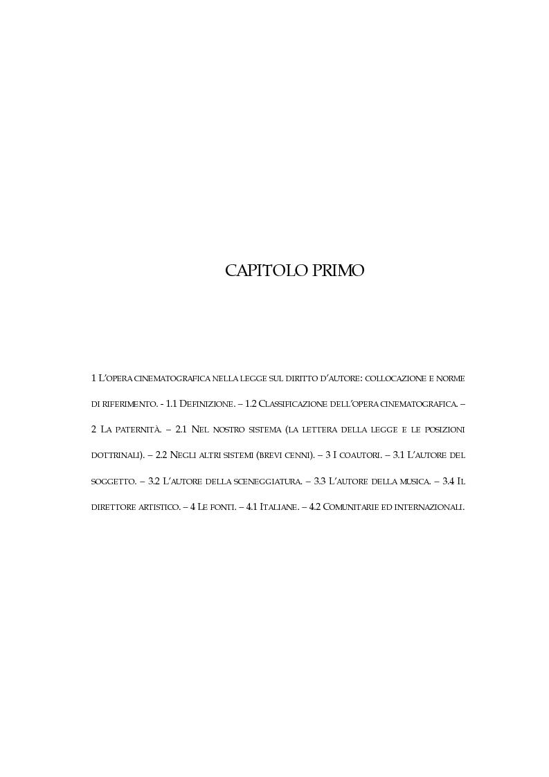 Anteprima della tesi: L'opera cinematografica: in particolare del produttore cinematografico, Pagina 3