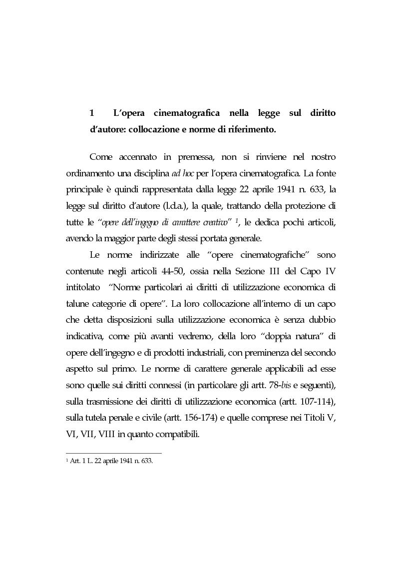 Anteprima della tesi: L'opera cinematografica: in particolare del produttore cinematografico, Pagina 4