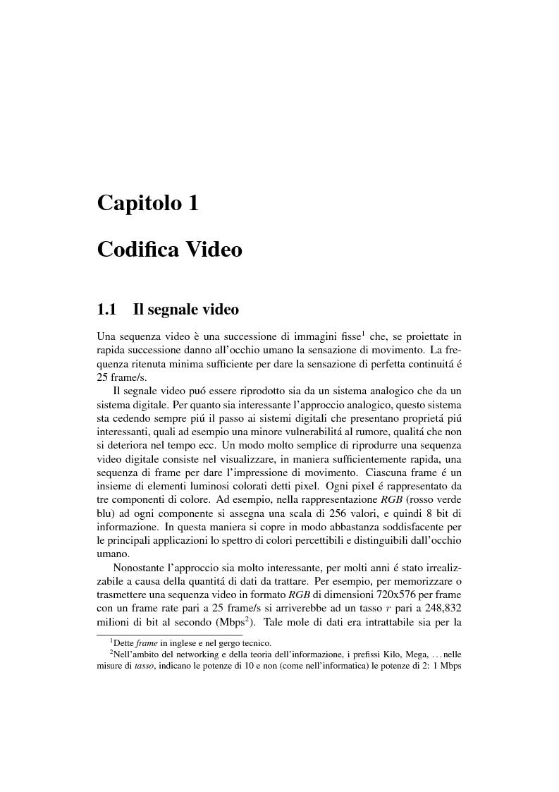 Compressione object-based del segnale video mediante trasformata Wavelet - Tesi di Laurea