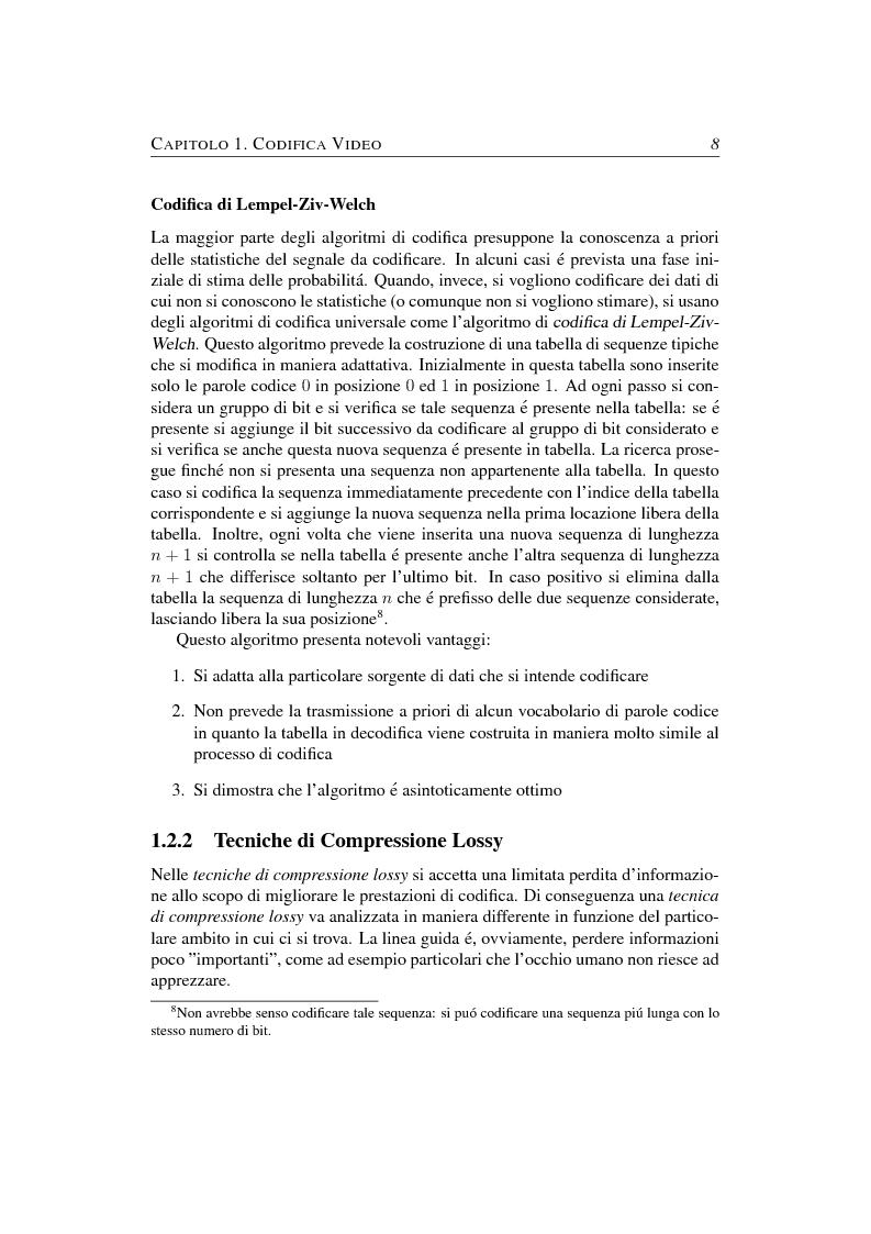 Anteprima della tesi: Compressione object-based del segnale video mediante trasformata Wavelet, Pagina 8