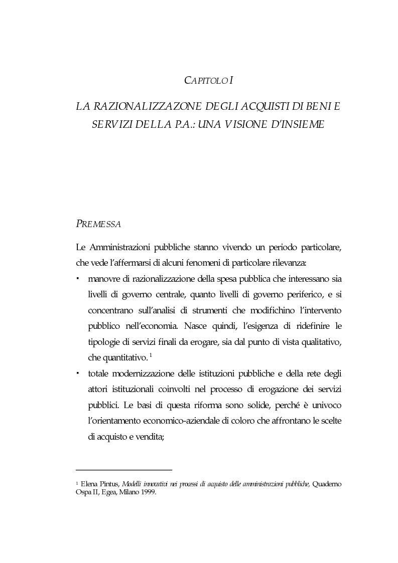 Anteprima della tesi: E-procurement per beni e servizi nella pubblica amministrazione: un'analisi di fattibilità nel settore sanitario, Pagina 5