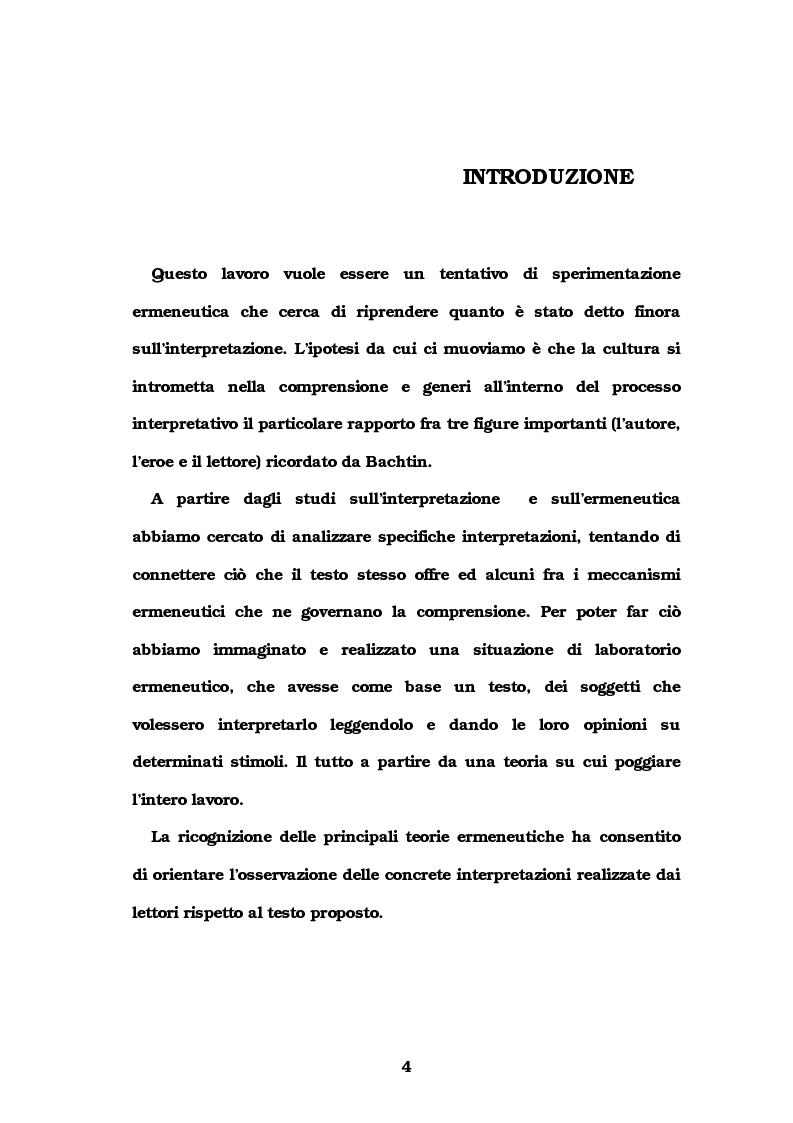 Anteprima della tesi: Autore e lettore a confronto: la doppia interpretazione, Pagina 1