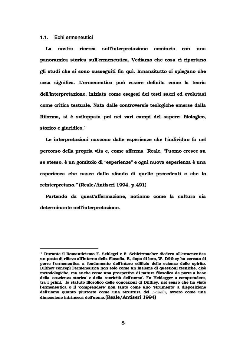 Anteprima della tesi: Autore e lettore a confronto: la doppia interpretazione, Pagina 5