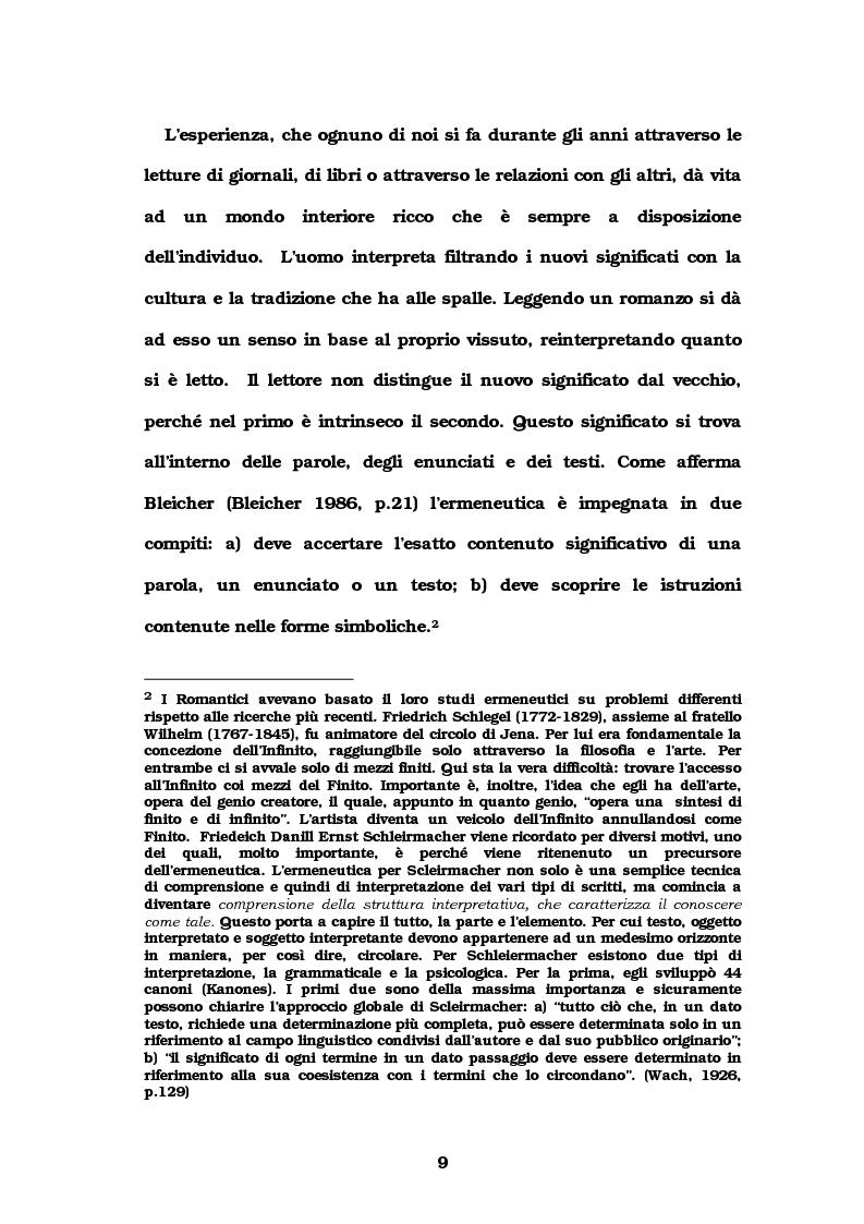 Anteprima della tesi: Autore e lettore a confronto: la doppia interpretazione, Pagina 6